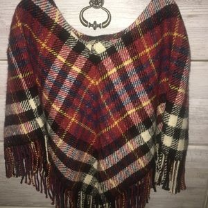 Red plaid Fringe Burberry Poncho size Small